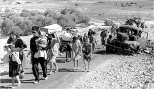 Palestinian refugees (A photo from 1948, Wikipedia)